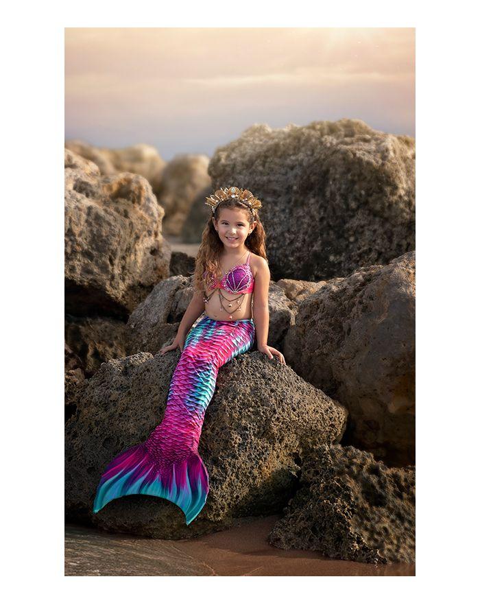 Kids Aqua Fairy Guppy Mermaid Tail Combo